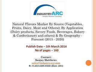Natural Flavors Market: demand for natural flavor ingredient in nutrition supplements by 2020