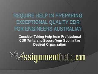 Get Help in Writing CDR from Myassignmenthelp.com