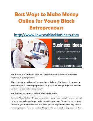 Best Ways to Make Money Online for Young Black Entrepreneurs