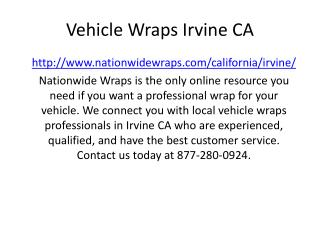 Vehicle Wraps Irvine CA
