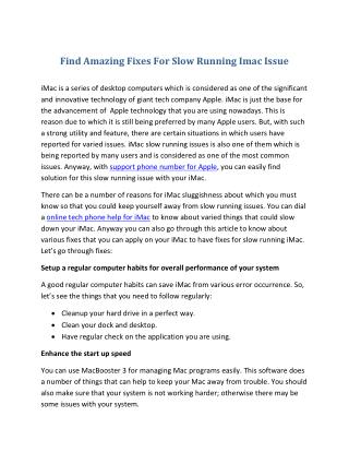 Find Amazing Fixes For Slow Running Imac Issue