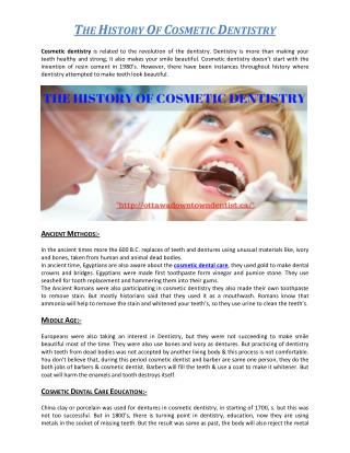 THE HISTORY OF COSMETIC DENTISTRY
