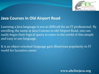 Java Courses in old Airport Road