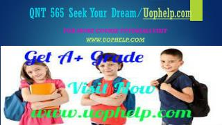 QNT 565 Seek Your Dream/Uophelpdotcom