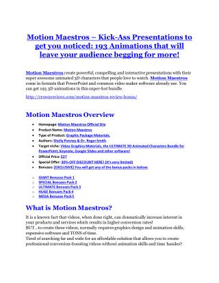 Motion Maestros review-(MEGA) $23,500 bonus of Motion Maestros