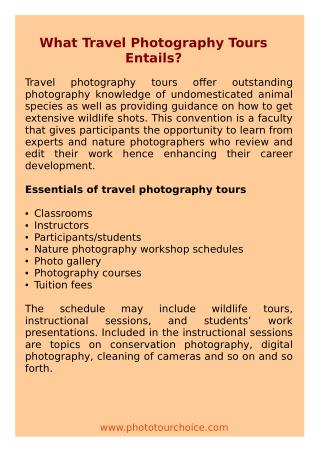 What Travel Photography Tours Entails?