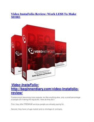 Video InstaFolio Review - Video InstaFolio DEMO & BONUS