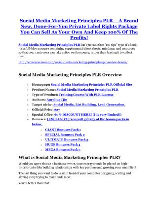 Social Media Marketing Principles PLR review and (Free) $21,400 Bonus & Discount