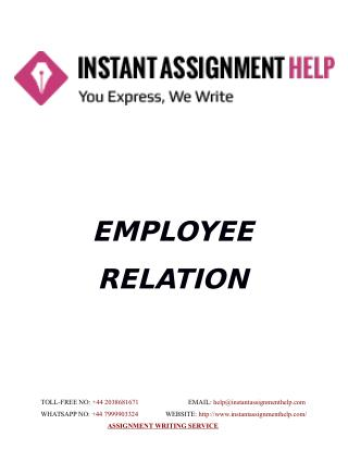 Sample Assignment on Employee Relation