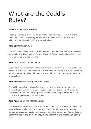 What are the Codd's Rules?
