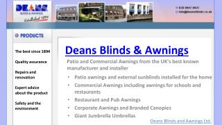 Deans Commercial Awnings, Patio Awnings And Electric Blinds