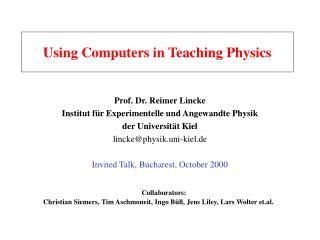 Using Computers in Teaching Physics