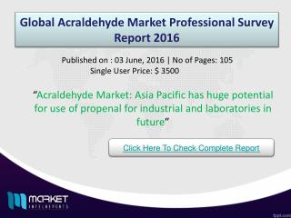 Global Acraldehyde Market: growth in acrolein uses propelling the demand in North America