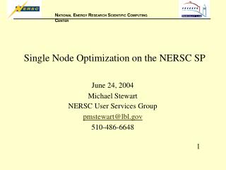 Single Node Optimization on the NERSC SP