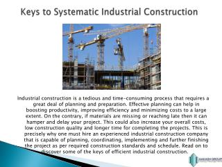 Keys to an Efficient Industrial Construction