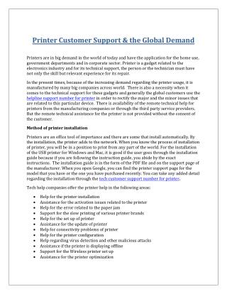Printer customer support & the global demand