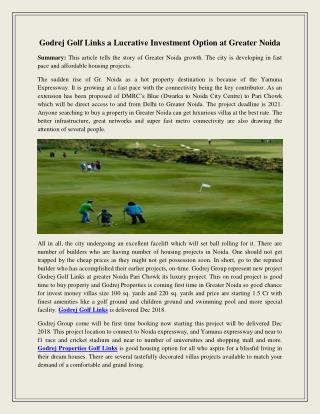 Godrej golf links a lucrative investment option at greater noida