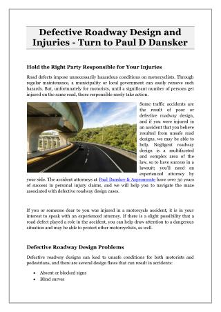 Defective Roadway Design and Injuries - Turn to Paul D Dansker