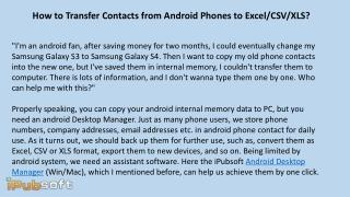 How to Transfer Contacts from Android Phones to Excel CSV XLS