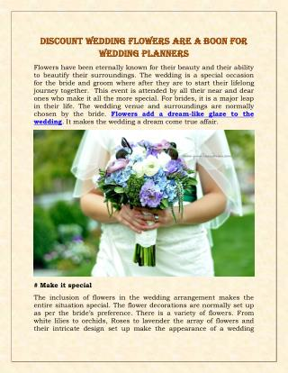 Discount Wedding Flowers are a Boon For Wedding Planners