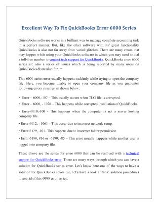 Excellent Way To Fix Quickbooks Error 6000 Series
