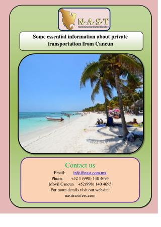 Some essential information about private transportation from Cancun