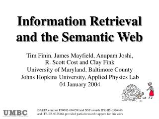 Information Retrieval and the Semantic Web