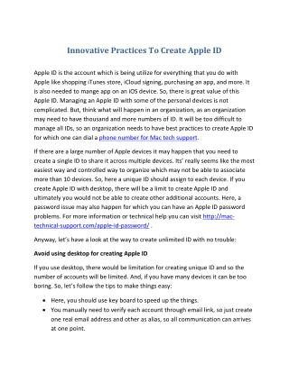 Innovative Practices To Create Apple ID