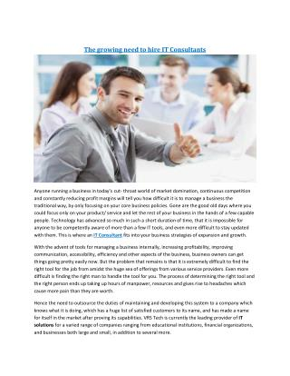 The growing need to hire IT Consultants