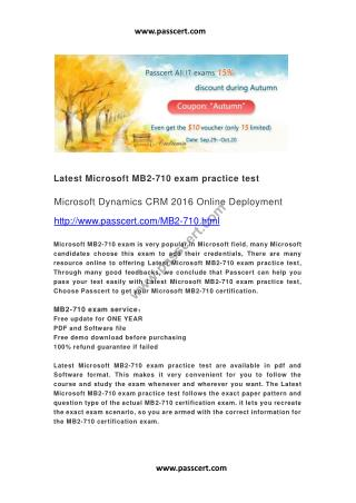 Microsoft MB2-710 exam practice test