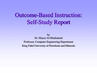 Outcome-Based Instruction: Self-Study Report