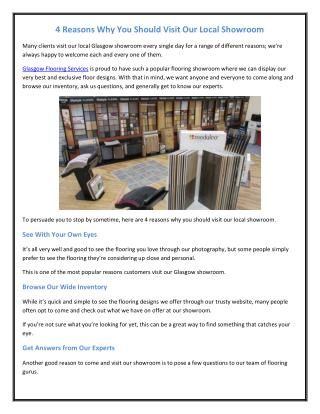 4 Reasons Why You Should Visit Our Local Showroom