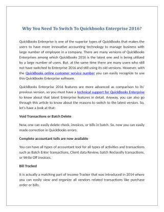 Why You Need To Switch To Quickbooks Enterprise 2016?