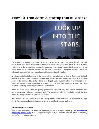 How To Transform A Startup Into Business?