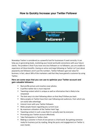 How to Quickly Increase your Twitter Follower