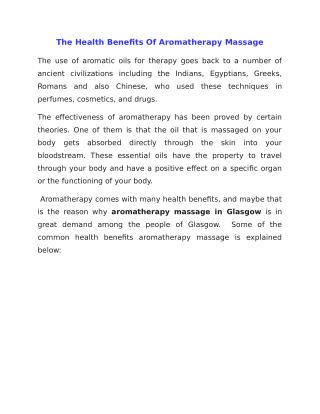 The Health Benefits Of Aromatherapy Massage