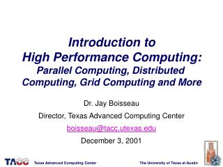 Introduction to High Performance Computing: