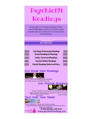 Psychic 121 Readings - One to One Online Psychic Services