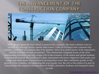 The Advancement of Commercial Construction Company