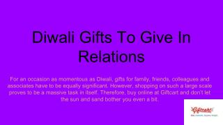 Diwali Gifts To Give In Relations