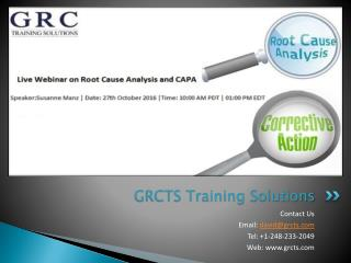 Live Webinar On Root Cause Analysis and CAPA