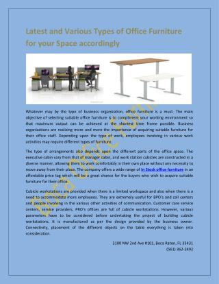 Latest and Various Types of Office Furniture for your Space accordingly