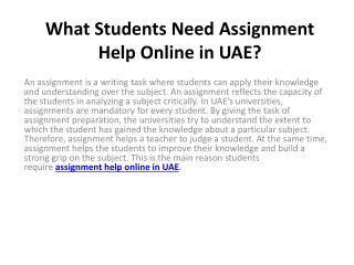 What Students Need Assignment Help Online in UAE?
