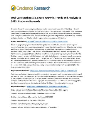 Oral Care Market Size, Share, Growth, Trends and Analysis to 2023: Credence Research