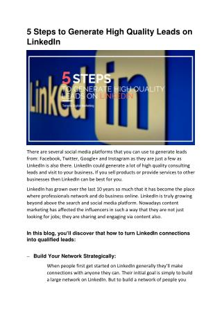 5 Steps to Generate High Quality Leads on LinkedIn