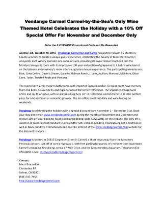 Vendange Carmel Carmel-by-the-Sea's Only Wine Themed Hotel Celebrates the Holiday with a 10% Off Special Offer For Novem