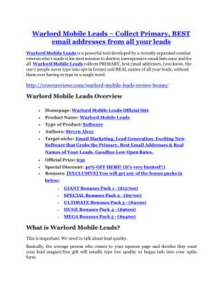 Warlord Mobile Leads review demo and $14800 bonuses