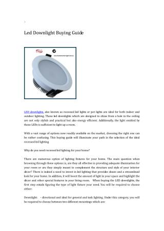 led downlight buying guide