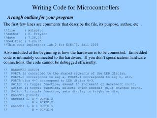 Writing Code for Microcontrollers