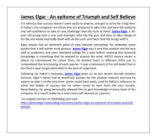James Elgar - An epitome of Triumph and Self Believe
